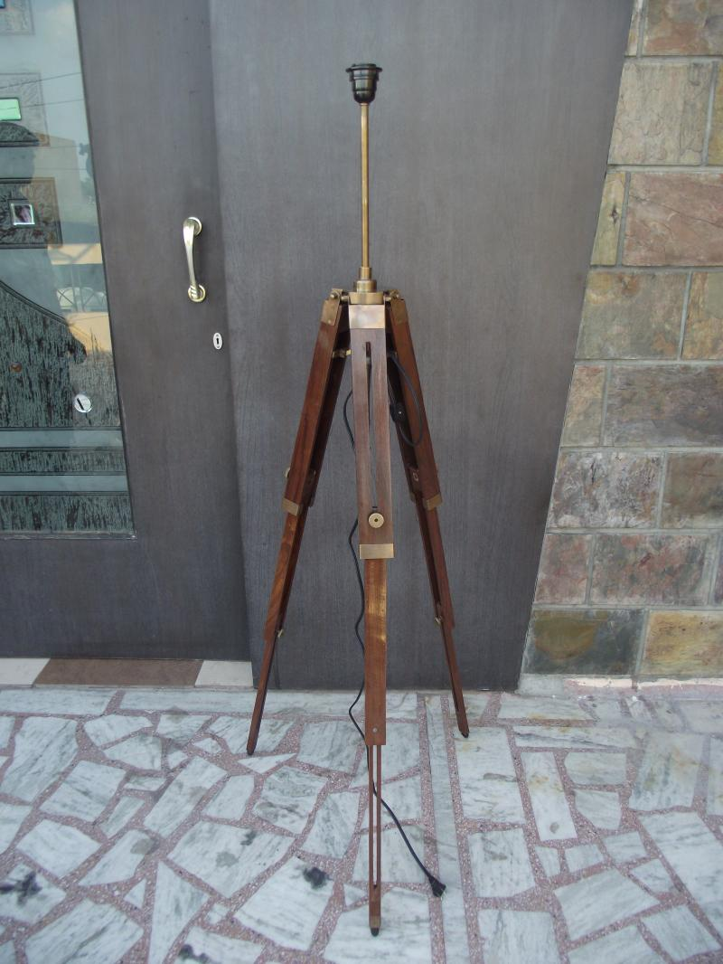 Tripod floor lamp stand antique wood antique lamp home and for Royal marine tripod floor lamp antique brass
